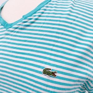 Lacoste Womens T-Shirt Green White Striped